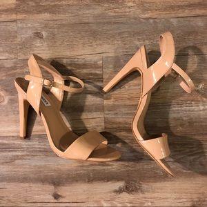 Steve Madden Nude Patent Ankle Strap Heels